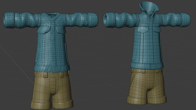 Ellie jacket, front - retopo