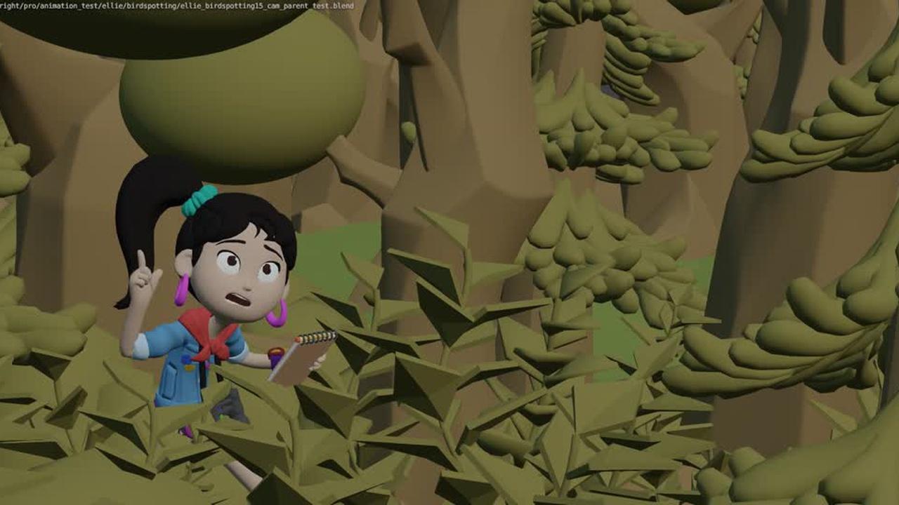 Ellie 'Bird Spotting' animation test on 2s
