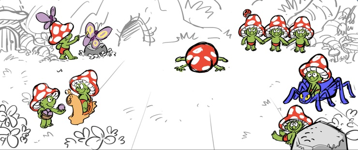 A slapstick pain gag from Sprite Fright's original storyboard.