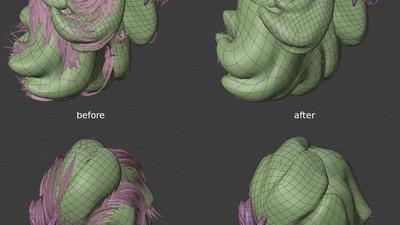 Victoria hair meshes, 3q - reshape
