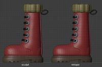 Ellie boots, side view - retopo