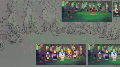 Sprite village painting linework