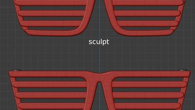 Jay shades, front view - retopo
