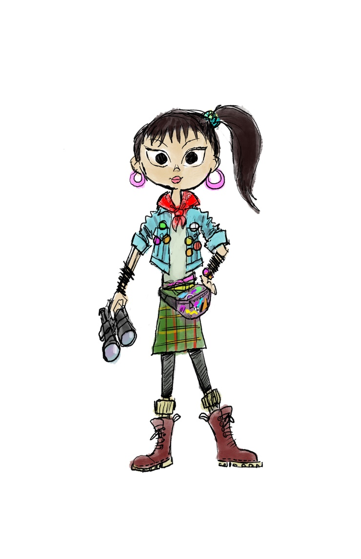 An early sketch of Ellie by Ricky Nierva--back when her name was still Emily.