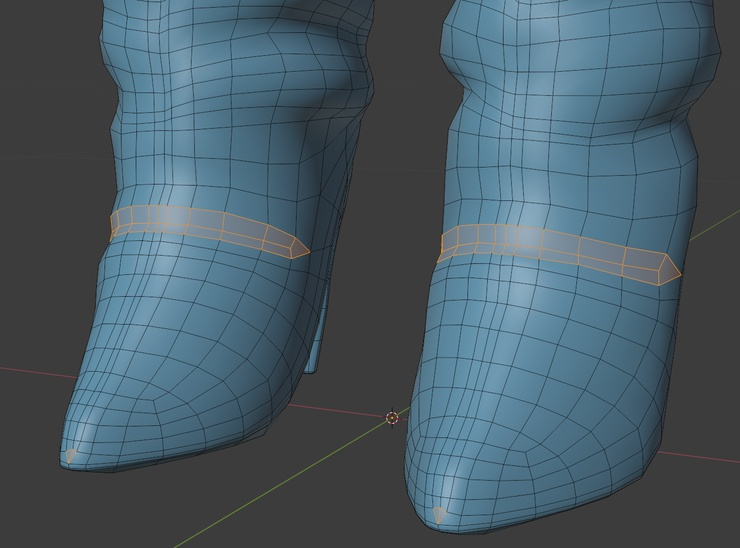 Retopo showing quads for boot crease, and tiny triangles on non-deforming tip.