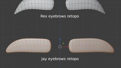 Jay and Rex eyebrows - retopo