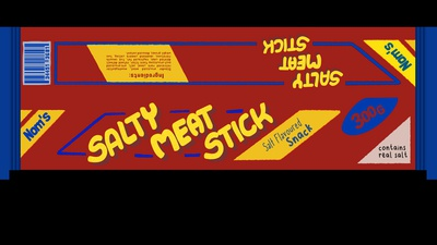 Salty Meat Stick Label