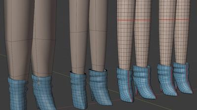 Victoria legs and boots - retopo