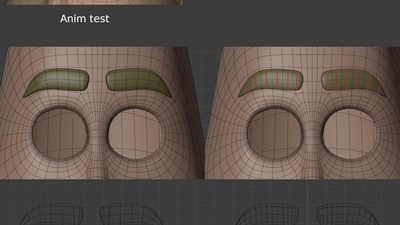 Eyebrows revisions - retopo