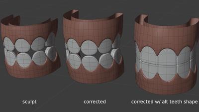 Jay alternate 'square' teeth shape key - retopo