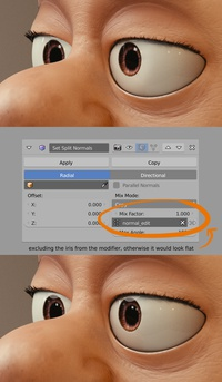 Eye shading trick: Split Normal modifier