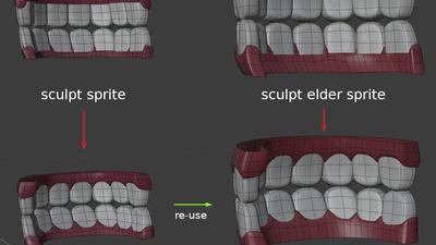 Elder Sprite teeth - mesh re-use
