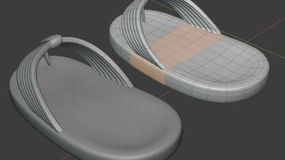 Phil sandals, back - retopo