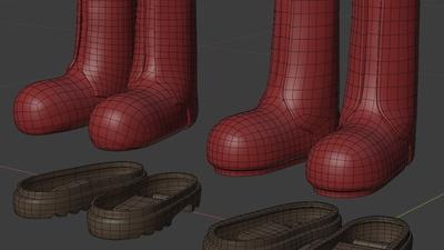 Ellie boots, pieces - retopo