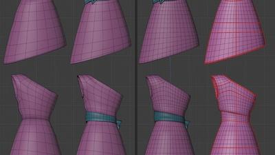 Victoria dress, front - retopo