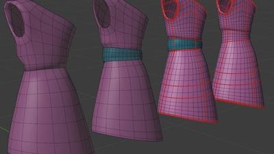 Victoria dress, 3q back - retopo