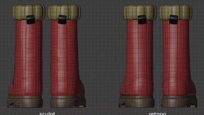 Ellie boots, back view - retopo