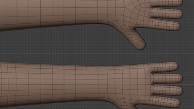 Rex hand and arm - retopo