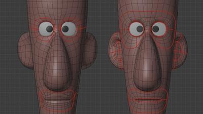 Jay head, front - retopo