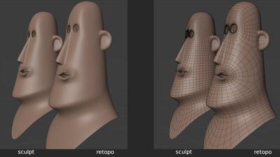 Rex 'mouth_uu' shape key, 3q - retopo