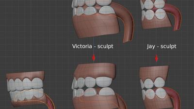 Tongues, side view - retopo