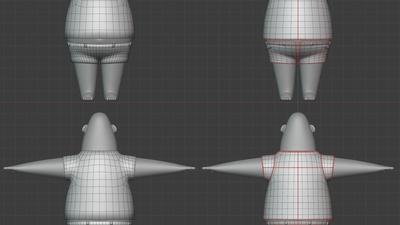 Phil shirt and shorts, base - retopo