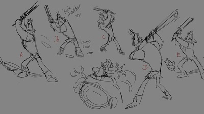 Rex Swinging Pose Drawings