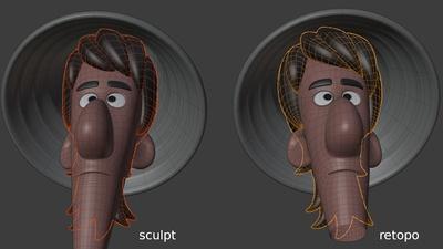 Jay hair and hat - retopo