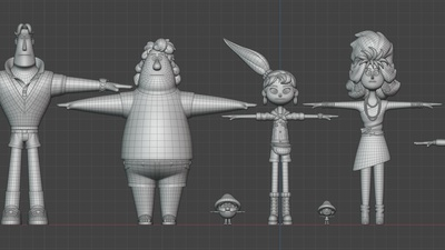 Line up of retopologized characters