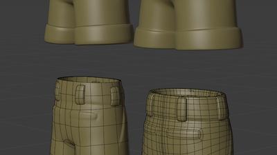 Ellie trousers, back - retopo