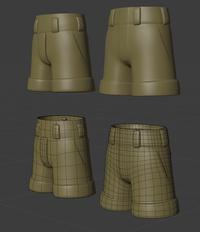 Ellie trousers, front - retopo