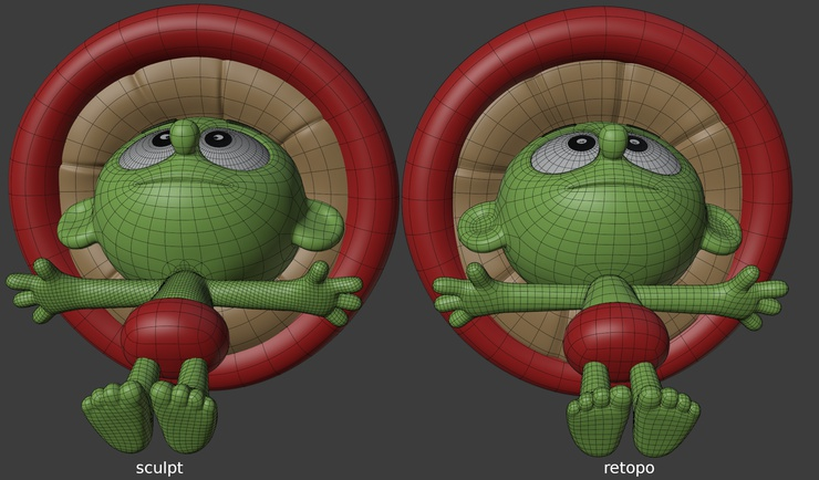 The subtle art of retopo, a worm's eye view.