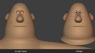 Phil head, front - retopo