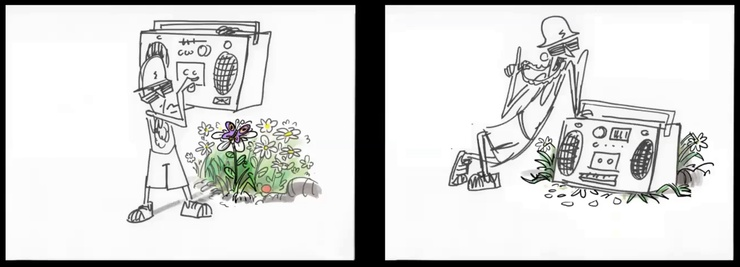An example of visual comedy, specifically a pain gag (note the unfortunate flattened butterfly).