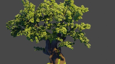 Oak tree 2: Trunk model and basic branches
