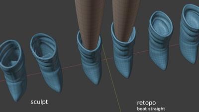 Victoria boots, top view - retopo