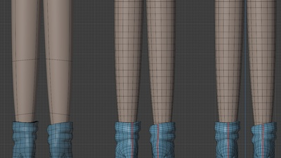 Victoria legs and boots, back view - retopo