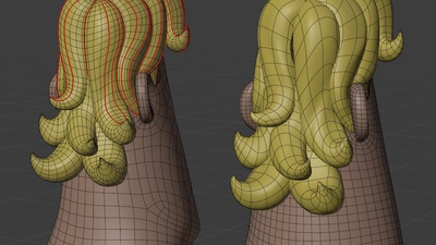 Rex hair, back - retopo