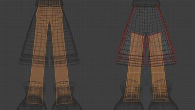 Jay pants, base mesh, wire - retopo