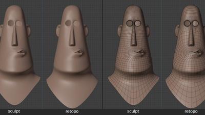 Rex 'mouth_uu' shape key, front - retopo