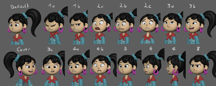 Expressions for the character Ellie.