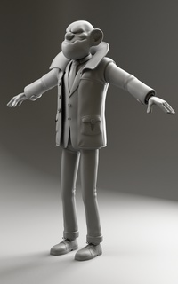 Boris finished model clay render
