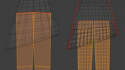 Victoria legs under dress - retopo