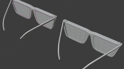 Jay shades, back view - retopo
