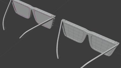 Jay shades, back view - retopo
