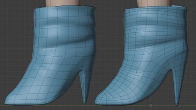 Victoria boots, side view - retopo