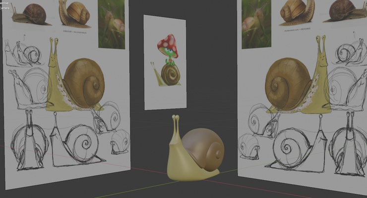 A 2D snail, in the process of being reborn as a 3D snail.